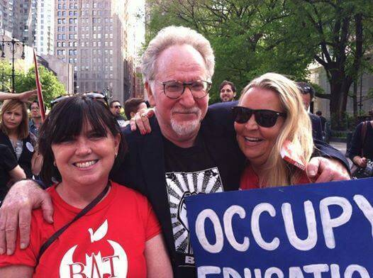 Mark Naison and comrades at Take Back Out Schools Rally in NY on May 17