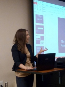 "Marlana Eck (Lehigh Valley Vanguard) delivering her paper ""The Neoliberal University: #realacademicbios as Genre"""