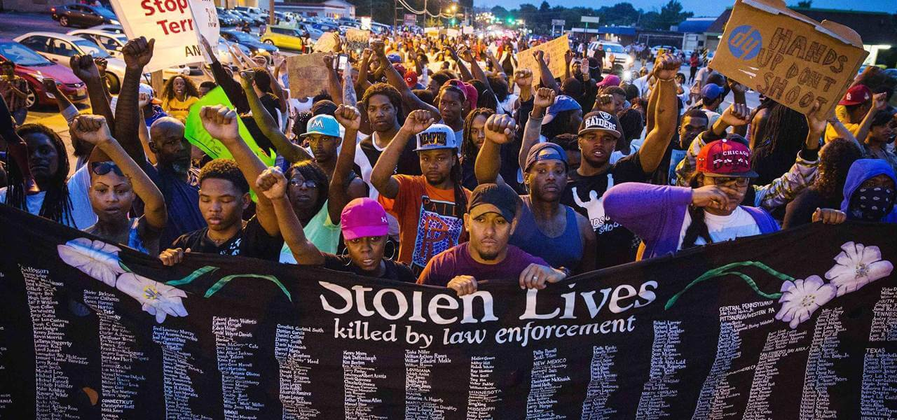 "NBC image. Ferguson residents and supporters launched a movement that sought justice for Mike Brown and other ""Stolen Lives."""