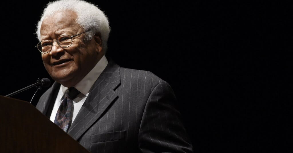 The Rev. James Lawson, a civil rights legend, speaks at Langford Auditorium on the Vanderbilt University campus Jan. 18, 2016. (Photo: Samuel M. Simpkins / The Tennessean)