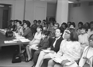 Paraprofessionals taking a high-school equivalency exam, Manhattan, 1970. The UFT's landmark paraprofessional contract created opportunities for education and advancement for thousands of working-class women.  Credit: United Federation of Teachers Hans Weissenstein Negatives Collection, Tamiment Library and Robert F. Wagner Labor Archives, NYU.