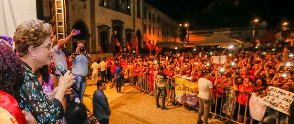 President Dilma Rouseff speaks to a demonstration in the city of Recife organized by Women For Democracy Against Violence, June 17, 2016. 5) Photocredit: Roberto Stuckert Filho/PR.