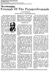 """Bayard Rusting called the UFT's paraprofessional contract """"one of the finest examples of self-determination by the poor"""" in an editorial in the New York Amsterdam News in August of 1970. Credit: Proquest Historical Newspapers."""