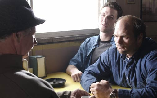 The docks; from left, The Greek, Nick Sobotka, and Frank Sobotka. Source: HBO and Wikipedia.