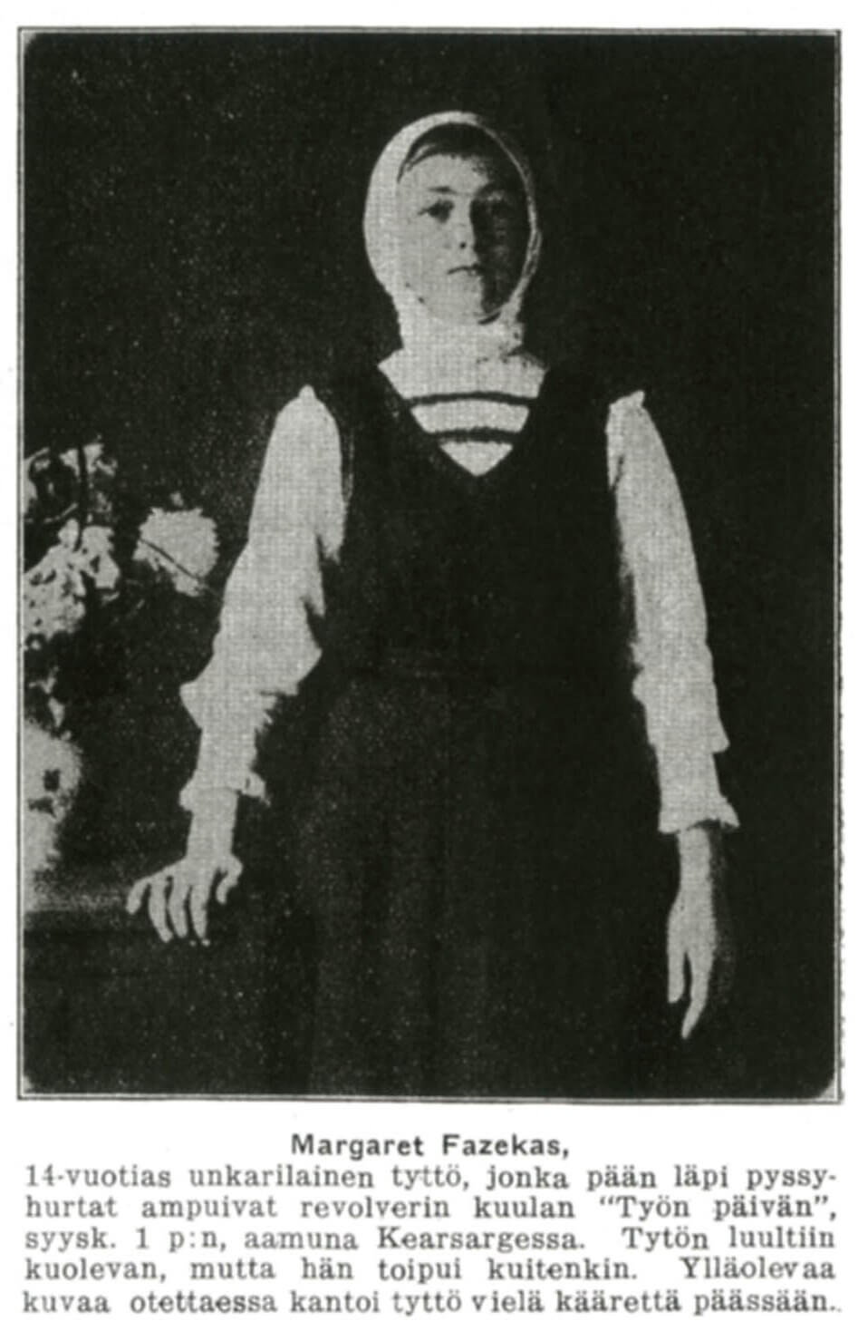 Margaret Fazekas, a 14-year-old girl shot in the back of the head during a Copper Country Labor Day parade in 1913.  Published in Työmiehen Joulu 1913.