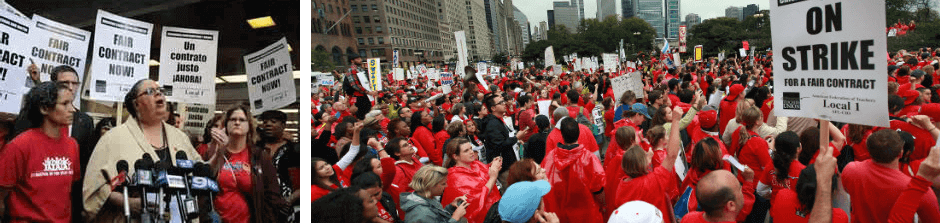 In September 2012, the Chicago Teachers Union engaged in a dramatic strike to protest the efforts of Chicago Mayor Rahm Emanuel to break the union and, over time, privatize the city's public education system.   The CTU won a pivotal victory largely because its members successfully collaborated with community allies about the broad social and economic issues affecting Chicago school teachers and their students. From left to right: Karen Lewis, CTU President, giving a press statement during the CTU strike; CTU members and their allies on a demonstration in downtown Chicago during the strike, September 19, 2012.
