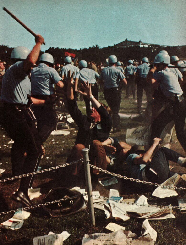 The 1968 Democratic Party Convention in Chicago, where radicals were beaten in the streets.