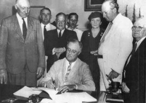 "The 1935 Wagner Act (The National Labor Relations Act): Among other things, this federal law, enacted by President Franklin Delano Roosevelt as part of his New Deal, protected private sector workers' rights to form unions and bargain collectively.  But it excluded public sector workers—along with agricultural and domestic workers—from its provisions. Franklin Roosevelt signs the Social Security Act, which represented a key part of Roosevelt's ""New Deal,"" as was the Wagner Act."