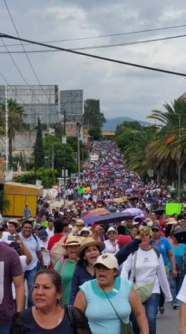 A mega march in Oaxaca City the day after the killings. Photo by Oscar Martínez.