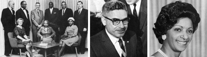 From left to right: the NEA-ATA Joint Committee meeting in 1961, three years before the NEA fully absorbed the ATA; Braulio Alonso, the NEA's first Hispanic president in 1967; Elizabeth Duncan Koontz, the NEA's first black president in 1968. All three images from NEA.org.
