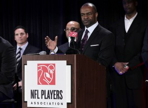 NFL Players Association Executive Director DeMaurice Smith speaks at an NFL Players Association Press Conference during the week of Super Bowl XLV in Dallas, Texas on February 3, 2011.    UPI/John Angelillo