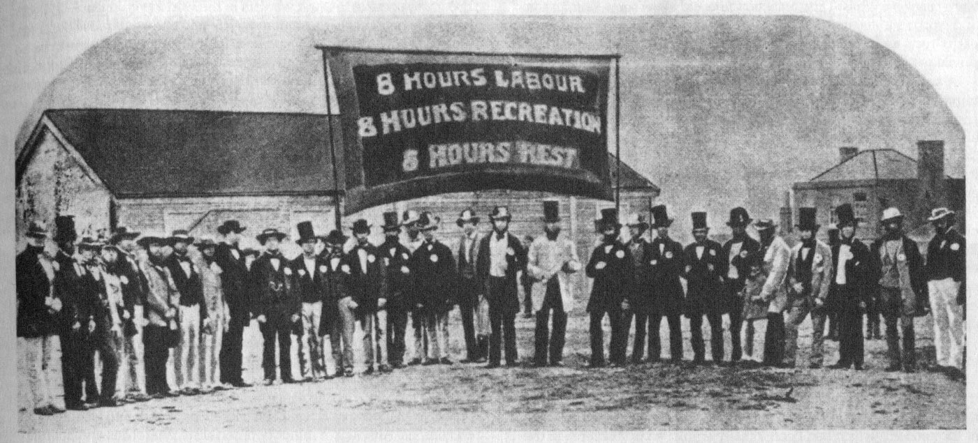 An 1856 Eight-Hour Day Banner. Photographer unknown