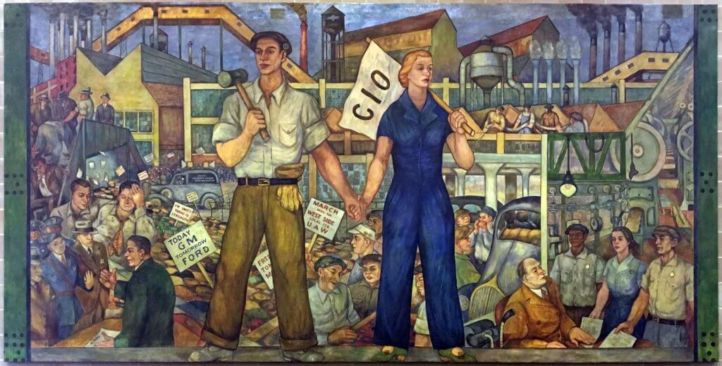 "A view of the Walter Speck mural, ""Untitled."" The mural, painted in 1937 for UAW Local 174, depicts scenes from the union's history. Credit: The Walter P. Reuther Library"