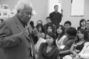 Reverend James Lawson speaks to student interns with co-writer, Kent Wong, in April, 2015.