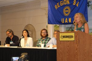 UAW Region 9A Leadership Conference in Hyannis, MA, August 28-September 1, 2016, Discussion Panel on Organizing: pictured from right: Georgette Fleischer, Barnard Contingent Faculty-UAW Local 2110; Ted Feng, UAW Region 9A Assistant Director; Jack Nicoludis, Harvard Graduate Students Union-UAW; Brenda Choy, NYU Tandon School-ACT UAW Local 7902; Todd Rouhe, BCF-UAW Local 2110—photo credit, Karen Greenberg